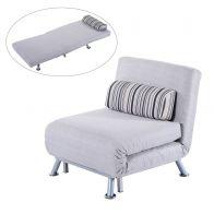 Mẫu ghế sofa đơn gấp đa năng bọc vải chân inox mã 16