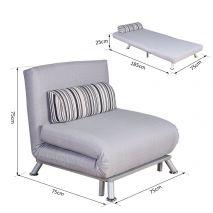 Ghế đơn sofa gấp đa năng thành giường chân inox mã 16-2