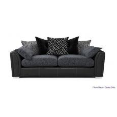 Mẫu sofa 4 chỗ bọc vải nỉ màu đen mã 17