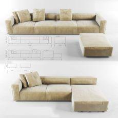 Ghế sofa góc không tay vịn bọc vải nỉ mã 200