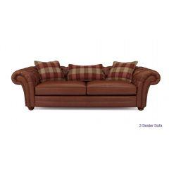 Sofa văng da kiểu tân cổ điển 3 chỗ màu nâu mã 09
