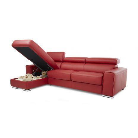 Mẫu sofa giường đa năng màu đỏ chân inox mã 12