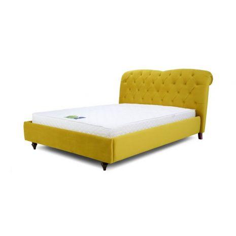 Giường ngủ tân cổ điển bọc vải màu vàng mã 08