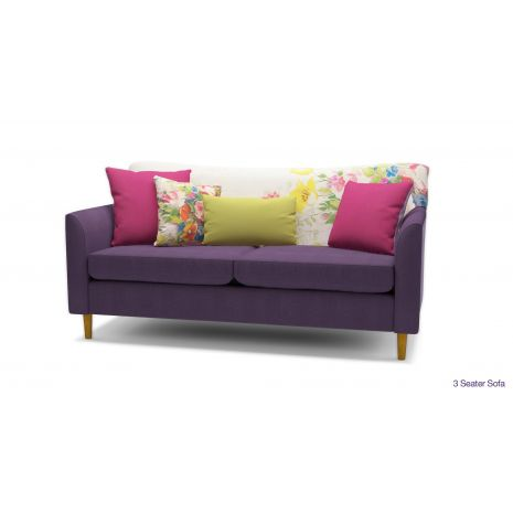 Sofa bọc vải nỉ 3 chỗ màu tím nhỏ gọn mã 50