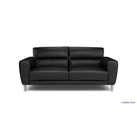 Sofa băng 3 chỗ bọc da chân inox màu đen mã 50